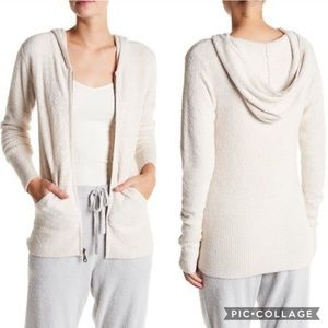 Barefoot Dreams CozyChic Lite Hoodie Taupe Zip Up